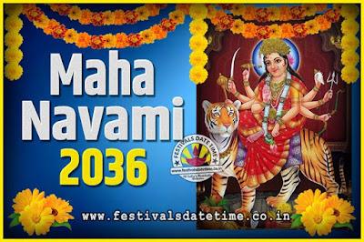2036 Maha Navami Pooja Date and Time, 2036 Maha Navami Calendar