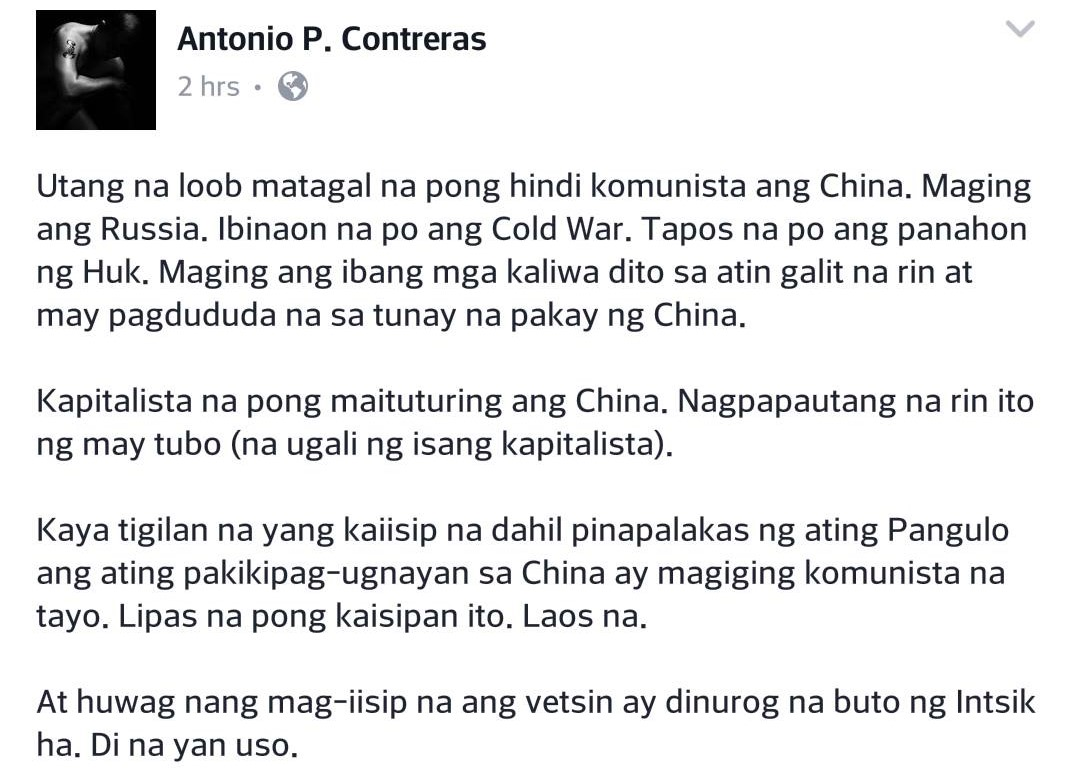 Prominent DLSU professor:  China and Russia are no longer communists, utang na loob