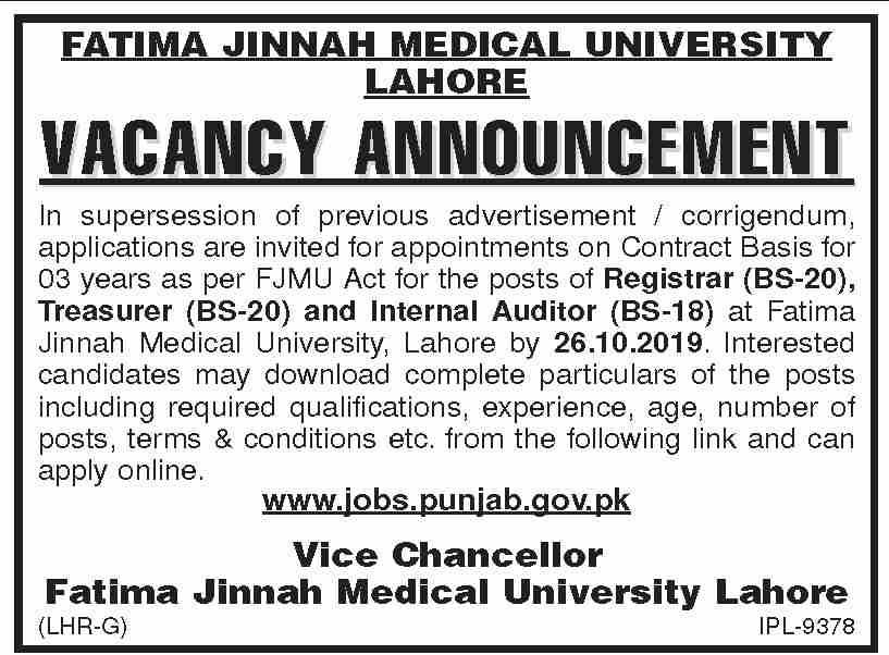 Fatima Jinnah Medical University Jobs 2019