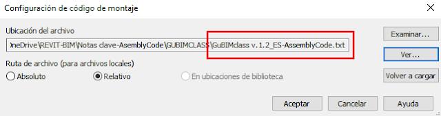 Definición de ruta para la asignación del archivo guBIMclass dentro de Revit. Fuente: Elaboración propia