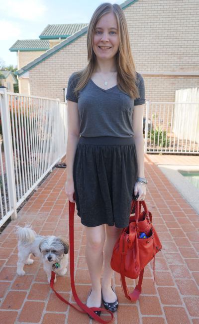 denim free casual friday grey tee black skirt bright red balenciaga velo bag