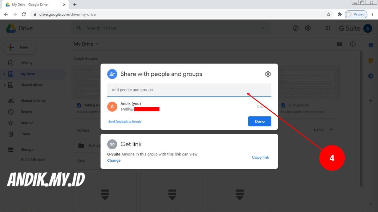 Cara Membagikan Dan Mengirimkan File Google Drive Google Drive Share Andik My Id
