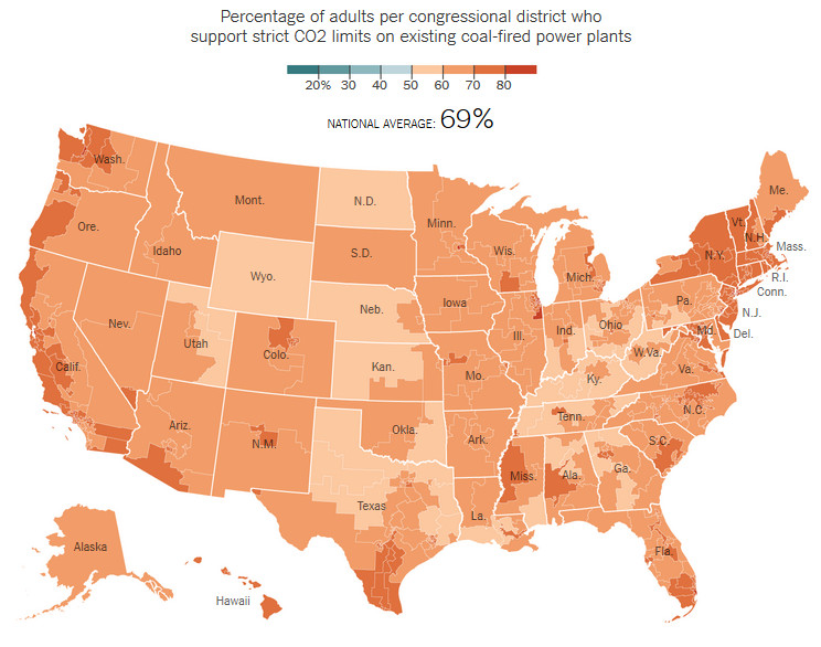 Percentage of adults per congressional district who support strict CO2 limits on existing coal-fired power plants