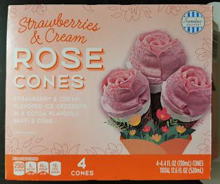 A box of Aldi's Sundae Shoppe Strawberries and Cream Rose Cones