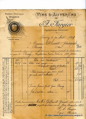 Vieux papiers : facture vin Fargier