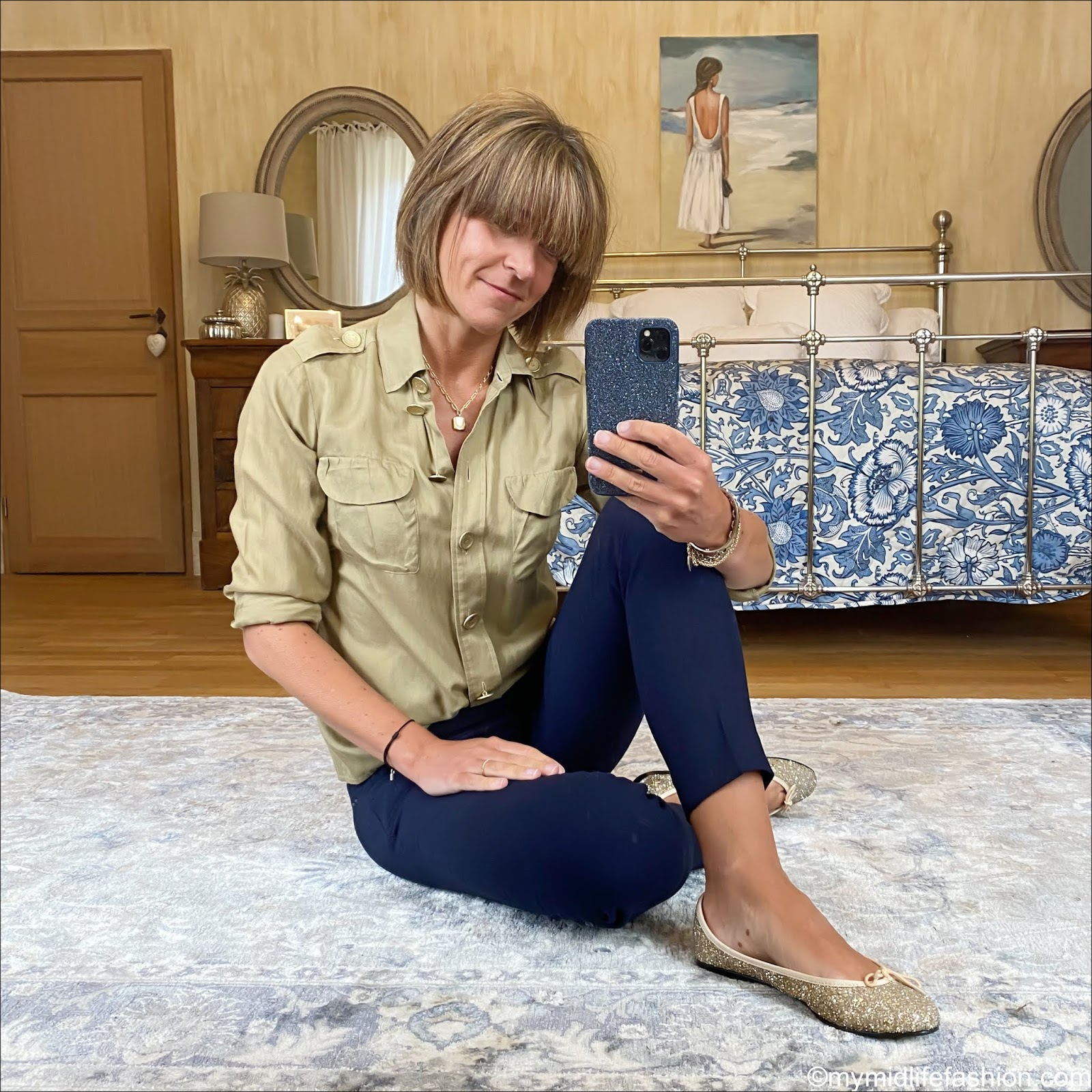 my midlife fashion, see by Chloe military shirt, j crew Cameron cropped slim fit trousers, French sole Henrietta gold glitter ballet pumps