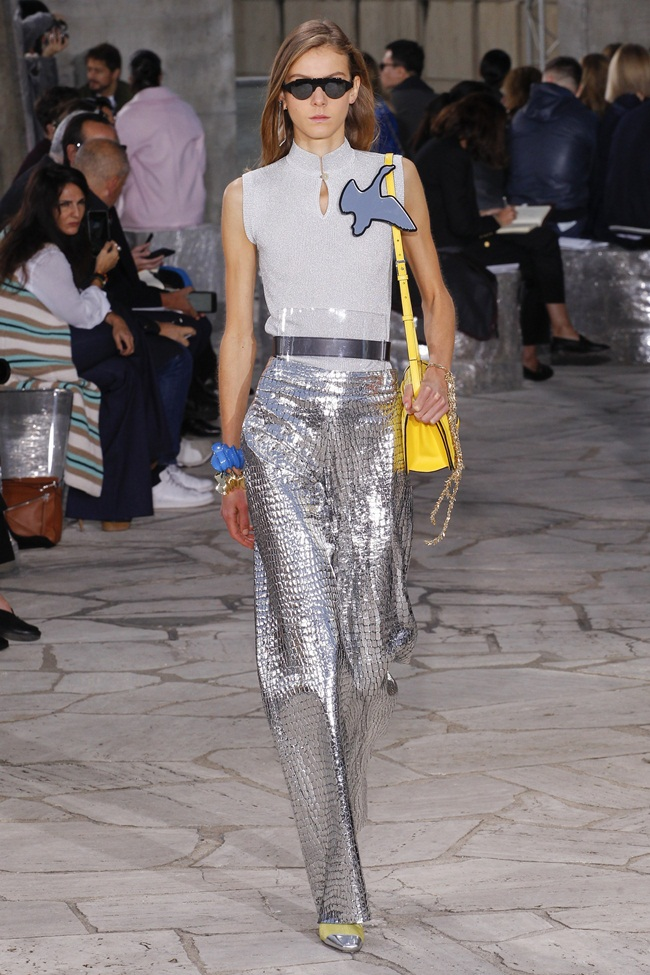 2016 SS Loewe Silver Crocodile-Embossed Leather Trousers on Runway