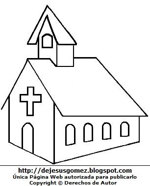 Dibujo de una iglesia para colorear, pintar o imprimir. Dibujo de iglesia hecho por Jesus Gómez