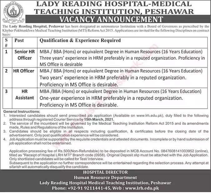 Latest Jobs in Pakistan Lady Reading Hospital Peshawar Jobs 2021