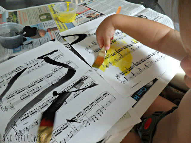 Painting to music with toddlers