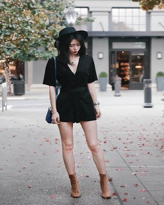 Outfit hipster con vestido corto negro