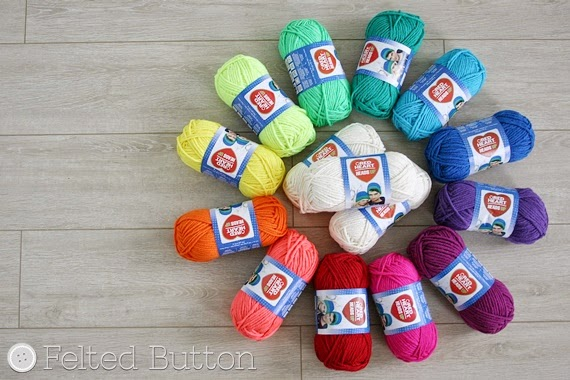 Red Heart Heads Up yarn --Design Wars Challenge (Felted Button -- Colorful Crochet Patterns)
