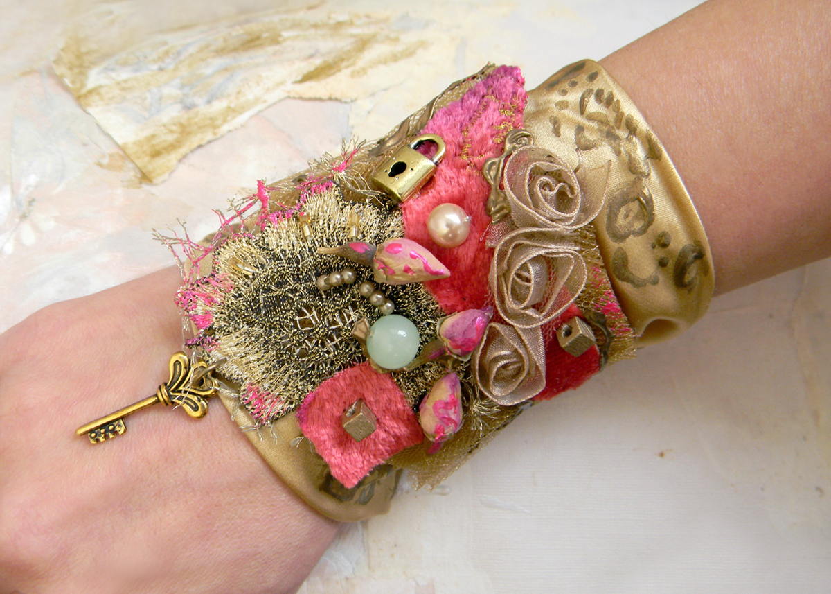 Unique Fashion Jewelry Steampunk Gypsy Baroque Art Collage Original Cuff