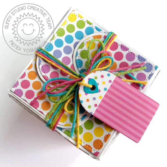 Sunny Studio Stamps Polka-dots & Stripes Gift Box (using Wrap Around Box Die & Spring Sunburst 6x6 Paper)