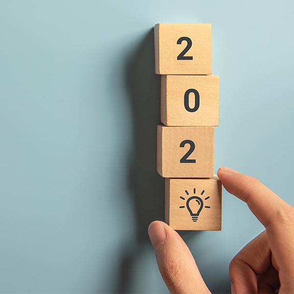 The year 2020 written with wooden bocks