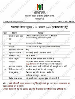 ITI And Diploma Apprentice Campus Placement For Caparo Engineering Pvt Ltd at Govt ITI Jabalpur, Madhya Pradesh