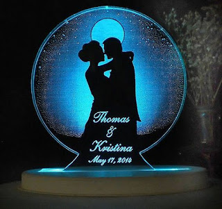 Moon Shaped Light Up Wedding Cake Topper