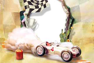 Retro Racing Cars: Free Printable Invitations, Frames or Cards.