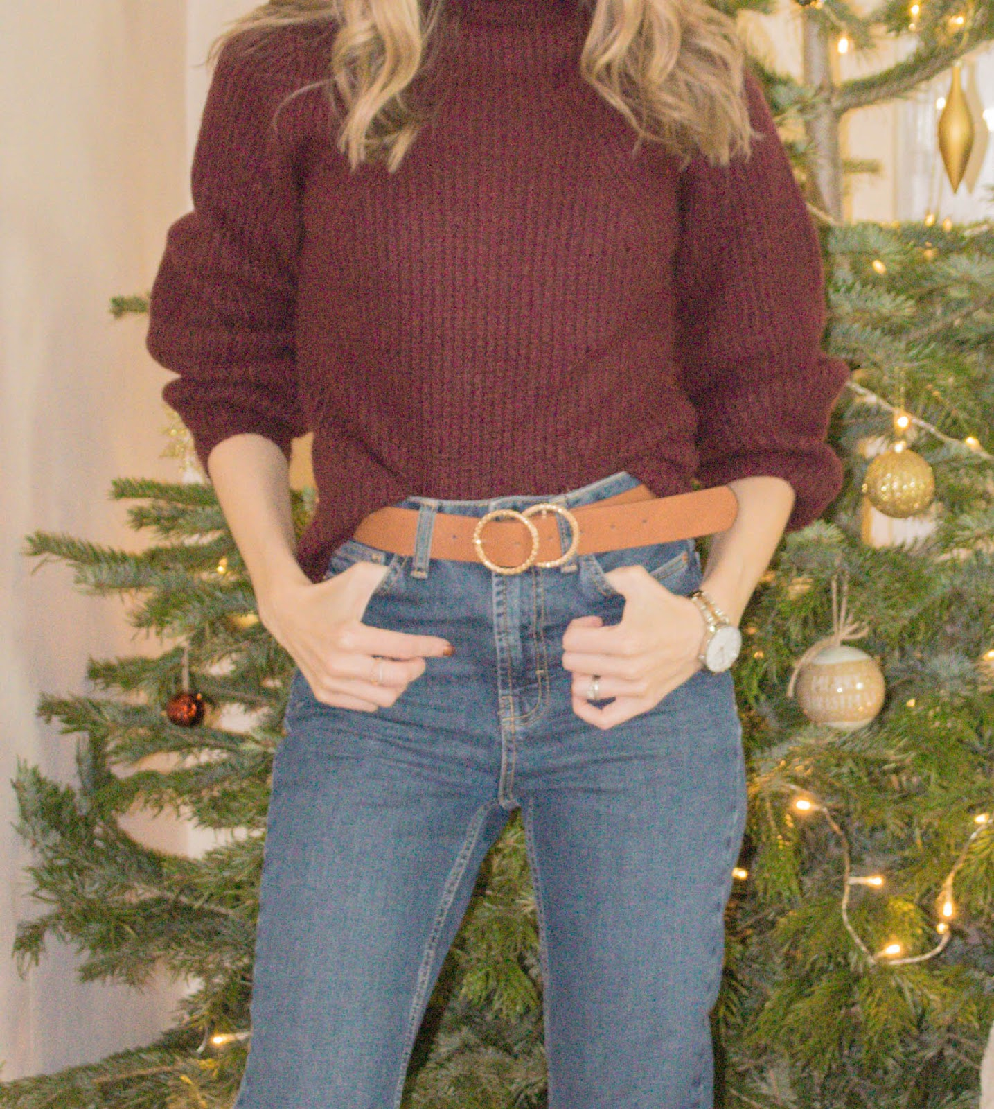 High street jeans and jumper
