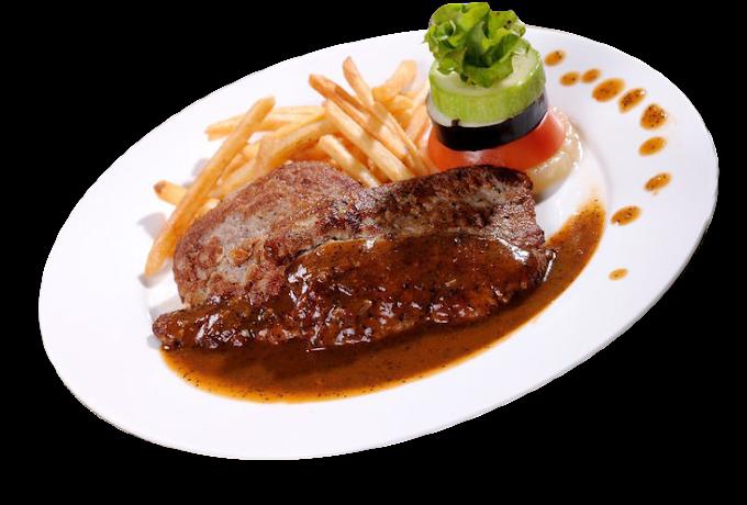 Dim sum Beefsteak European cuisine Pepper steak, Black Pepper Steak, food, black Hair png by: pngkh.com
