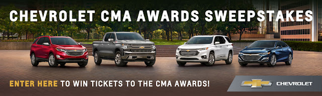Chevrolet will send one lucky winner to Nashville, Tennessee to attend the 2019 Country Music Awards, complete with hotel and airfare and a $500 gift card!