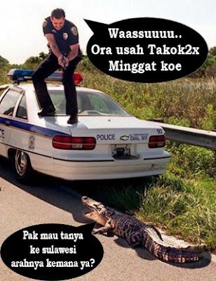 foto polisi dan hewan buaya lucunya standar