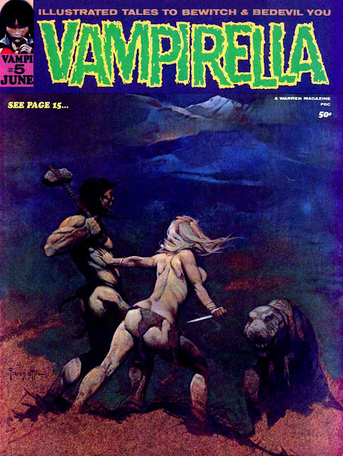 Vampirella v1 #5 warren magazine cover art by Frank Frazetta