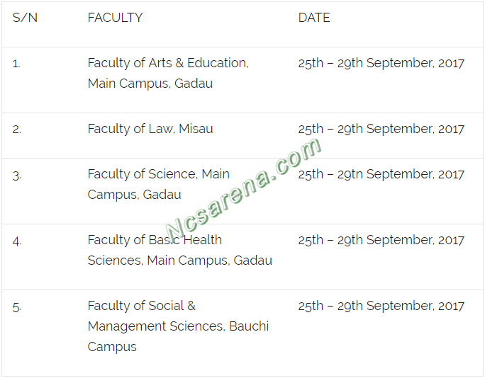 Bauchi State University 2017 Post UTME Screening Schedule