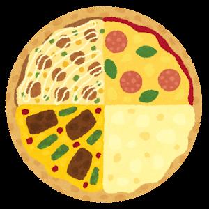クォーターピザのイラスト