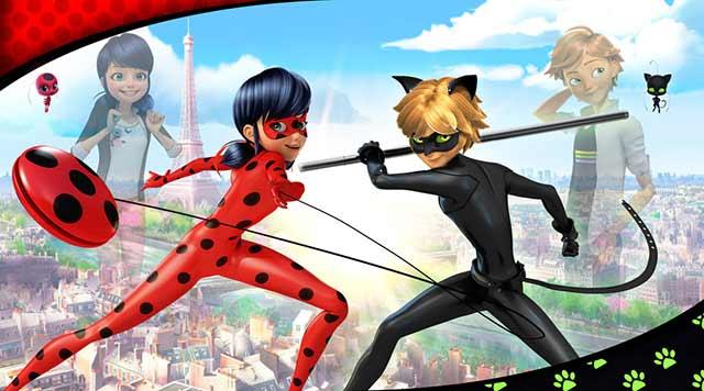 Painel para decoração de festa infantil tema Miraculous -Ladybug - Cat Noir