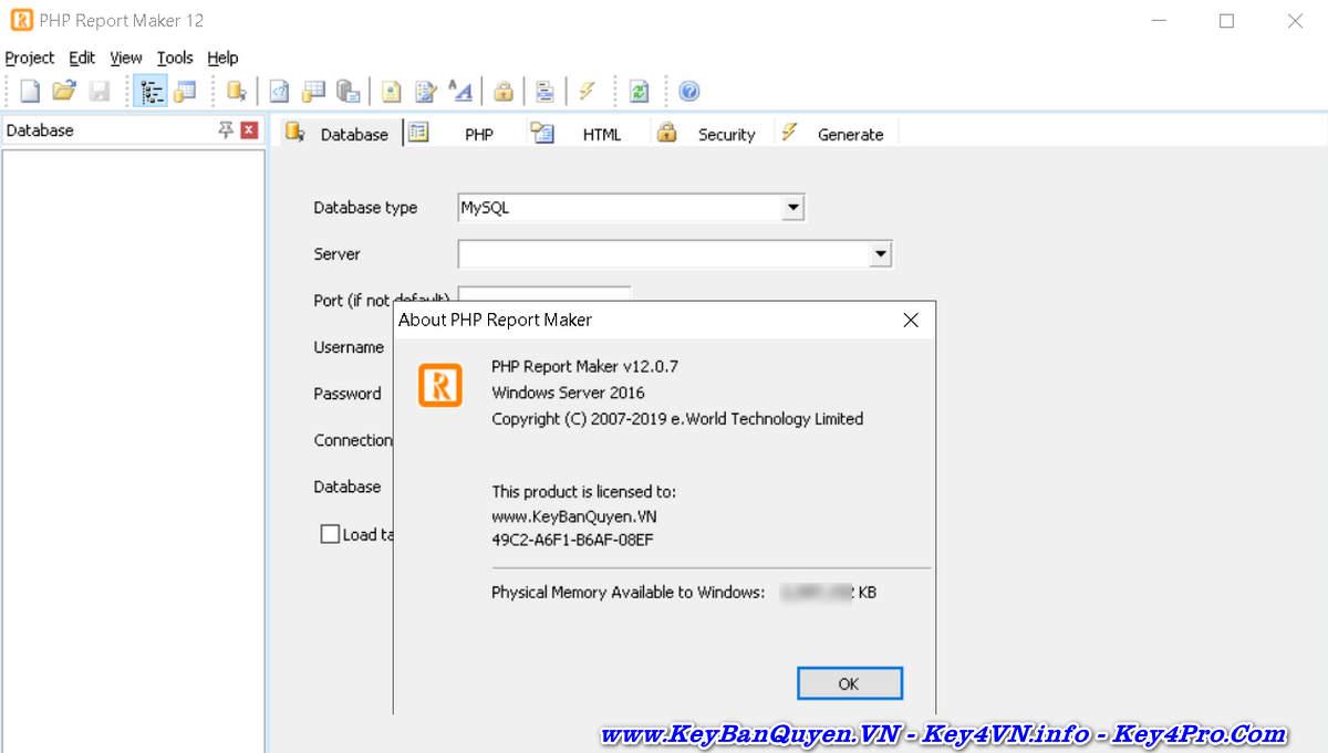 Download và cài đặt e-World Tech PHP Report Maker 12.0.7 Full Key, Tạo báo cáo Website từ các cơ sở dữ liệu.
