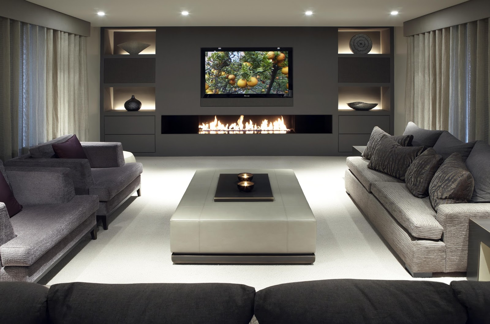 Wonderful Media Room Ideas With Modern Fireplace Under Wall Mounted Tv And Gray Fabric Sectional