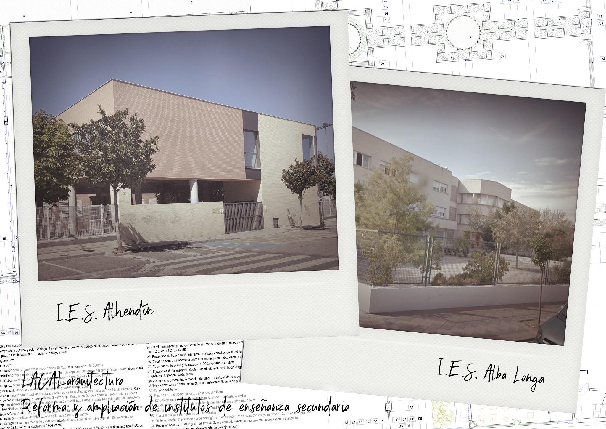 LACAL arquitectura. Arquitectos Granada. Javier Antonio Ros López, arquitecto. Daniel Cano Expósito, arquitecto. Ampliación de IES Alhendín y Alba Longa