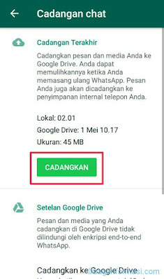 Backup data whatsapp