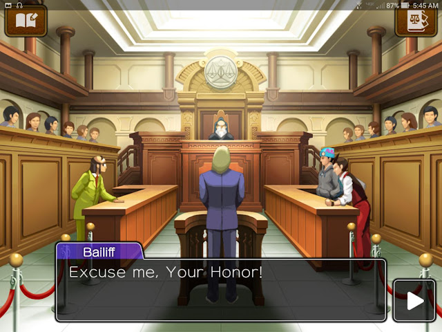 Apollo Justice Ace Attorney mobile tablet HD excuse me your honor Turnabout Trump bailiff faces Judge