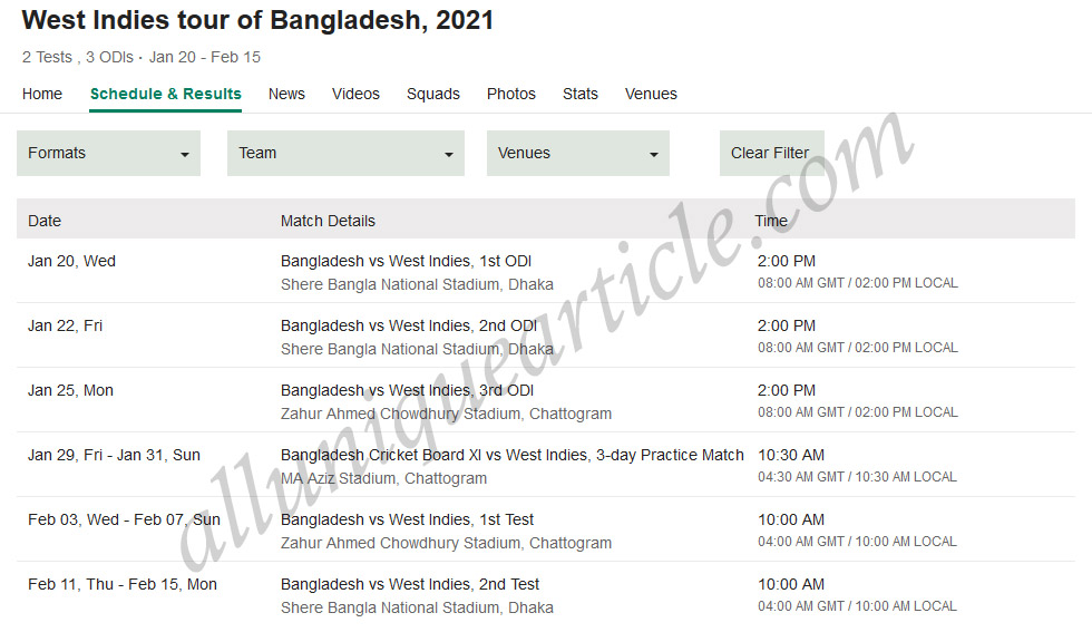 Get All Information of Bangladesh VS West Indies Cricket Matches