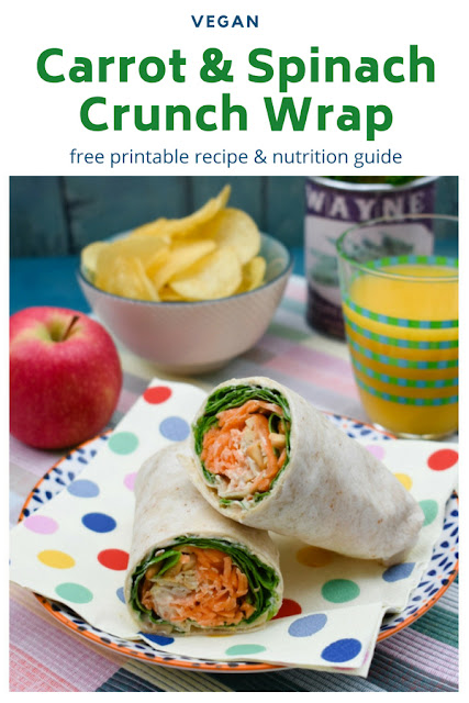 A delicious vegan lunchtime wrap full of colourful veggies and finished with the crunch that makes this wrap one of the best wraps around. Free printable recipe and nutrition guide. #wraps #lunchwraps #veganwraps #vegansandwiches #veganlunchbox #veganlunchrecipes #carrotwrap #backtoschool #backtoschoollunches #kidslunchbox #kidslunch