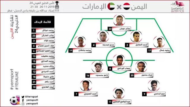 بث مباراة اليوم بث اليمن ضد الامارات تشكيل اليمن ضد الامارات