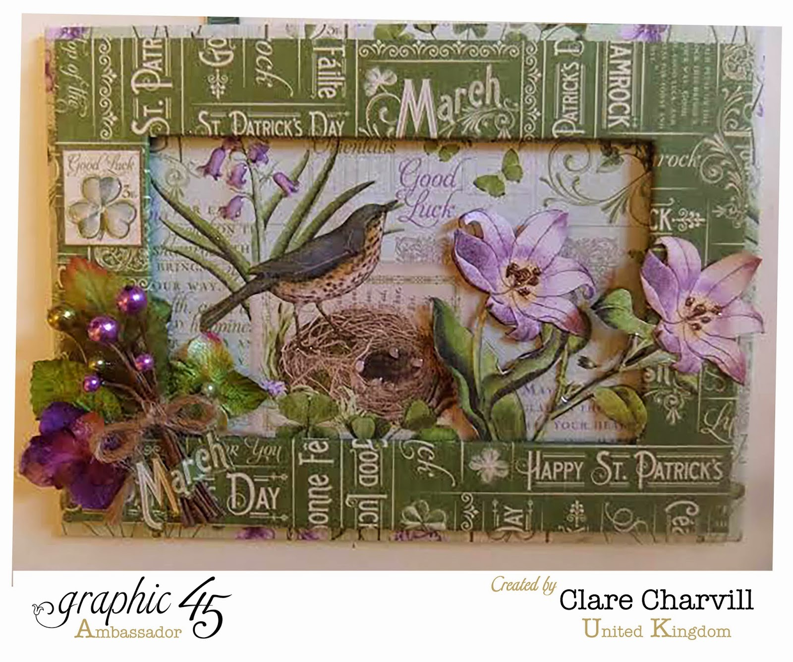 Time to Flourish Picture Frame by Clare Charvill for Jones Crafts Graphic 45