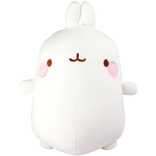 An image of a Molang plush, Molang is a white cartoon style rabbit with large body and small legs, arms and ears. They also have pink cheeks