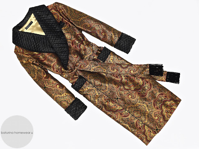 mens paisley silk dressing gown gold black quilted robe smoking jacket long warm vintage victorian english gentleman