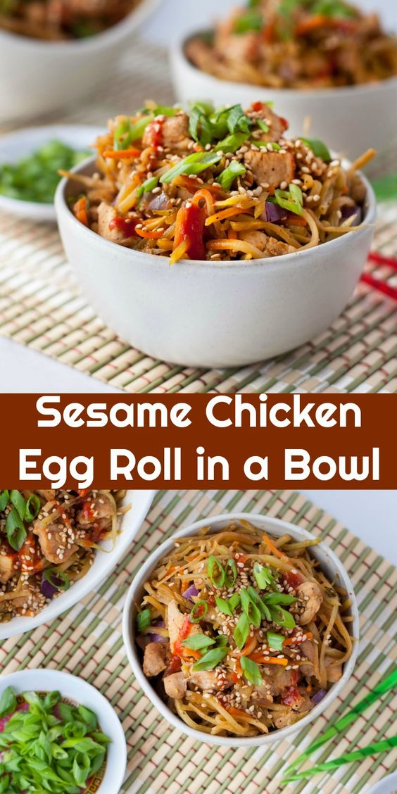 Delicious Low Carb Sesame Chicken Egg Roll In A Bowl