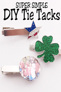 Using cute earrings or your favorite family picture, dad will love a custom tie tack for Father's day. Everyone can make this super simple diy fathers day gift, so the kids will be excited to give dad something he can actually use. #diyfathersdaygift #dadgift #diytietack #familygift