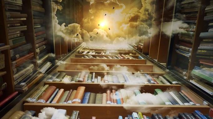 Livros, Biblioteca, Prateleiras, Nuvens