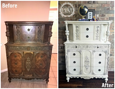 Before and After : Ornate Vintage Jacobean Style Chest of Drawers