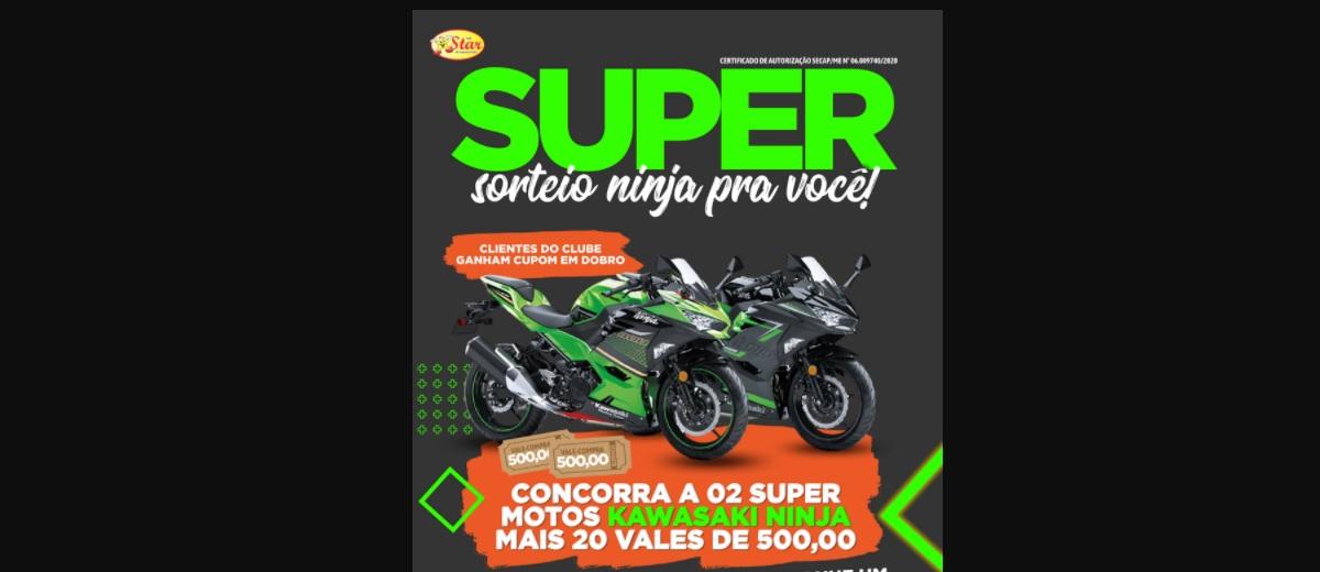 Promoção Gigantão 2020 Super Sorteio Ninja 2 Motos Kawasaki Ninja e 20 Vales-Compras 500 Reais