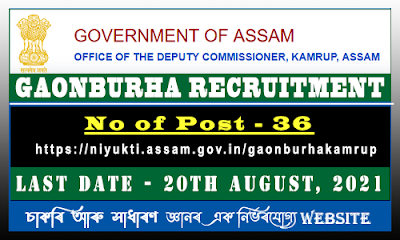 Kamrup DC Office Recruitment 2021 - Gaoburha Vacancy(36Post)