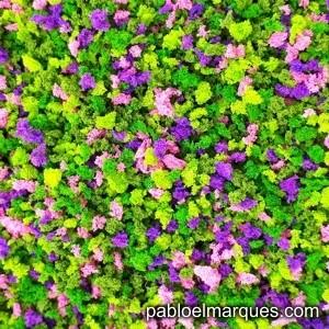 J-07 'Buganvilla' Jardín verde claro con flores rosas y violetas