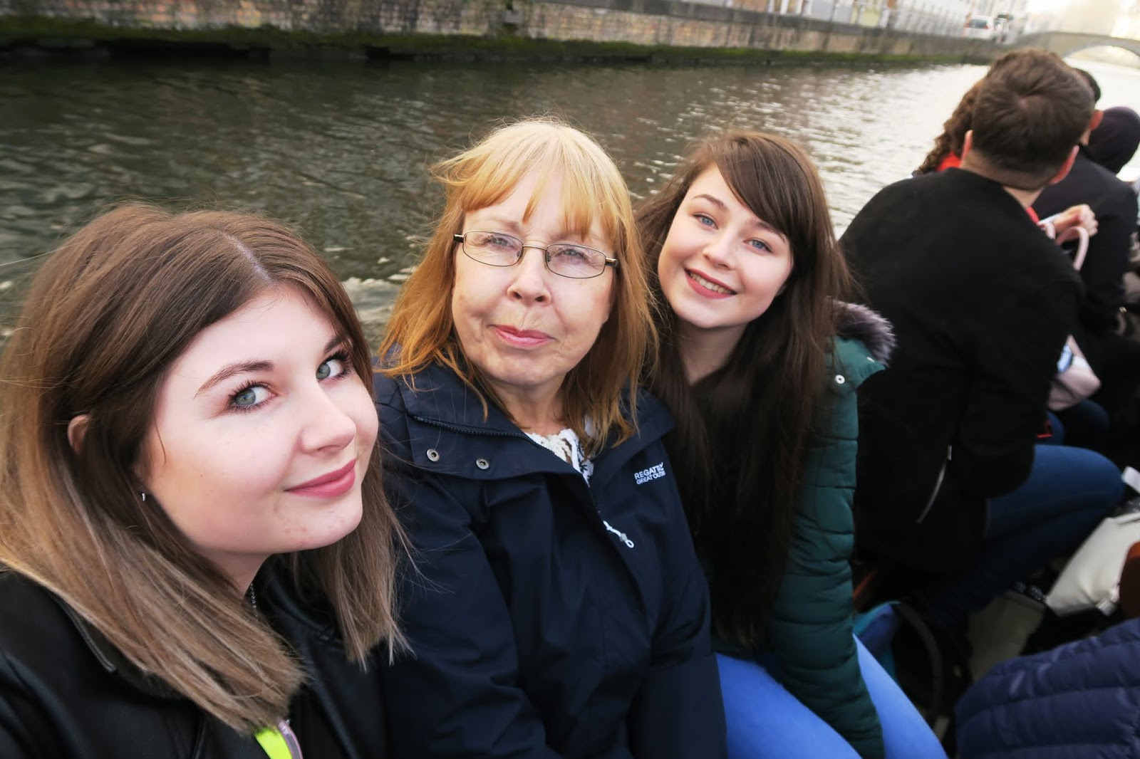 Myself and my family on a boat trip in Bruges