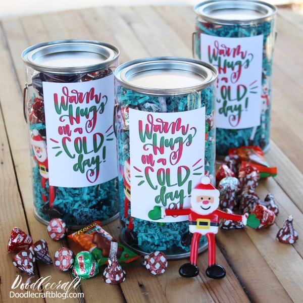 Spread Holiday Cheer Treat Buckets to people serving in the community. Includes Free Printable!